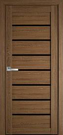 Двері міжкімнатні Леона скло BLK ПВХ Ultra, Дуб медовий, 900