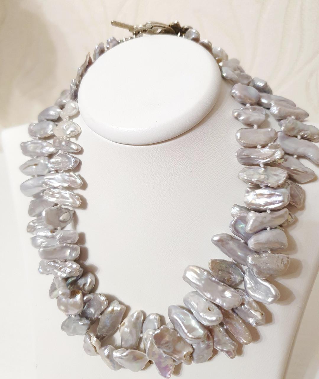 Намисто / намисто з натуральних Перлів Біва світло-сріблястого кольору
