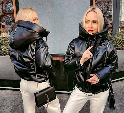 "Женская тёплая куртка 10208 ""Кожа Капюшон"""