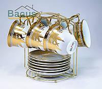 Сервиз чайный с золотом (12 пр./наб.) на металлическом стенде (F4G-6GMS-006)