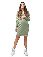 Платье-худи для беременных спортивное зеленое