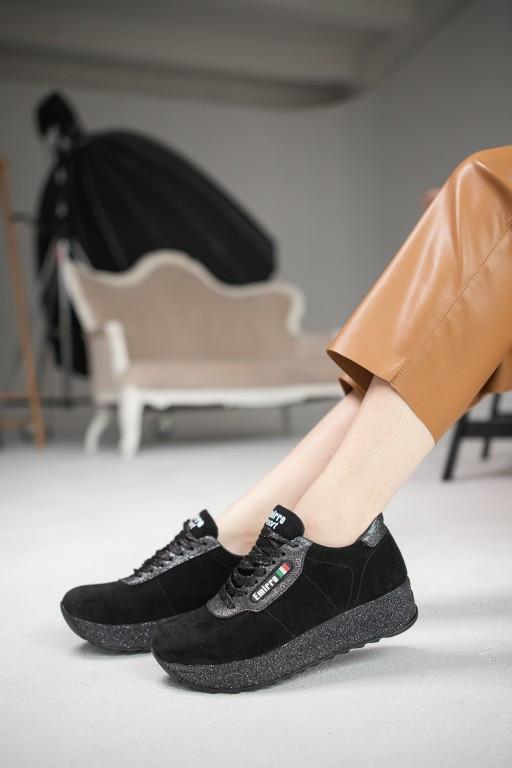 Женские кроссовки замшевые весна/осень черные Lions R20 Emirro Black