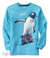 OldNavy Футболка с длинным рукавом, голубая, Пингвин