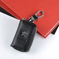 Чехол для ключей с карабином Peugeot кожа  2867