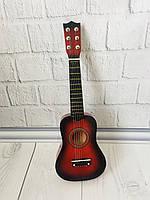 Детская игровая деревянная Гитара 6-ти струнная с медиатором и запасной металлической струной, 52 см, Red