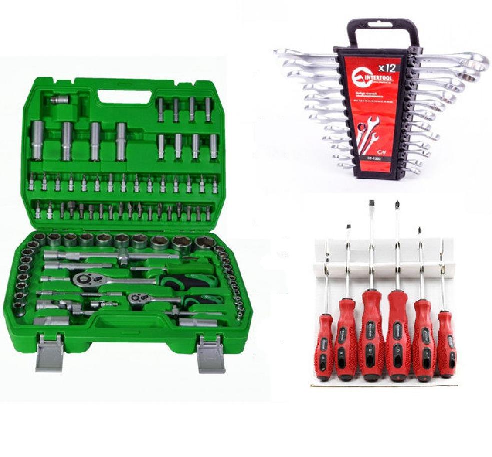 ✅ Набір інструментів головок Intertool 94 од+12 ключів +6 викруток ( Інтертул ET-6094SP, HT-1203,VT-2005)