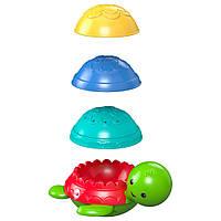 Дитяча Розвиваюча тактильна Іграшка для ванни Пірамідка Черепашка з кольоровими панцирами, Fisher price