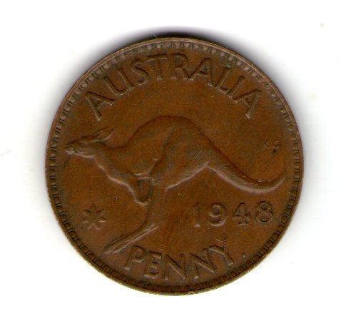 Австралія 1 пенні 1948 рік Георг VI №9