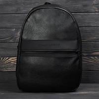 Городской повседневный кожаный рюкзак  томи. Черный