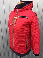 Женская демисезонная короткая куртка-трансформер красного цвета 42-66 размеры