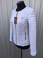 Женская короткая стеганная демисезонная куртка Шанель белого цвета 42-66размеры в наличии