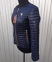 Женская короткая стеганная демисезонная куртка Шанель черного цвета 42-66размеры в наличии