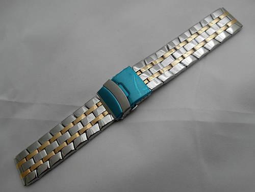 Стальной браслет к часам  - нержавейка, цвет серебро с золотом