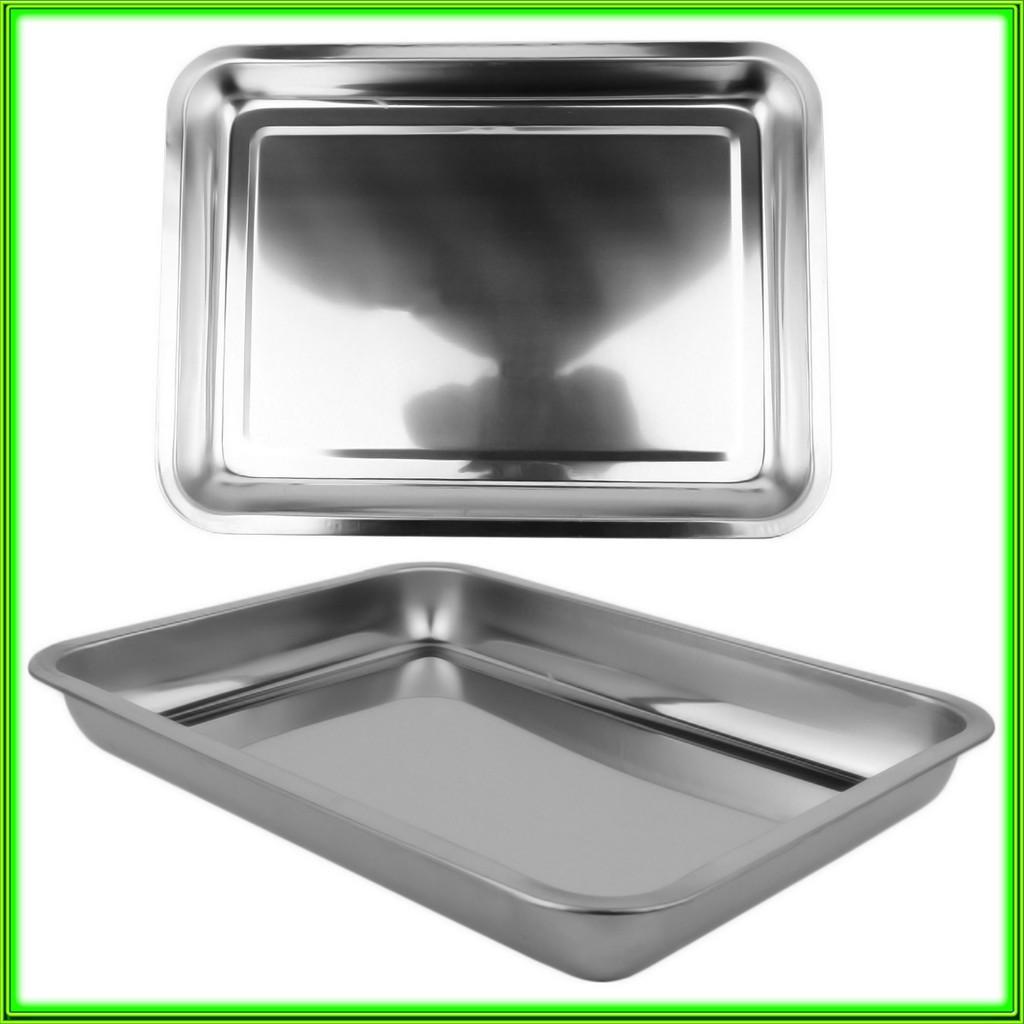 Противень из нержавеющей стали без ручек 32 * 27 * 4,3 см