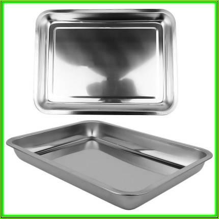 Противень из нержавеющей стали без ручек 32 * 27 * 4,3 см, фото 2