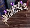 Діадема кольє і сережки, набір прикрас, весільна біжутерія, корона, фото 3