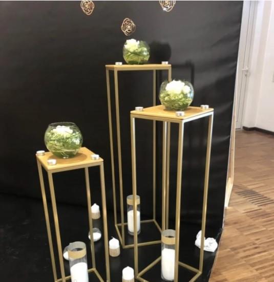 Свадебная колонна с полкой, тумба-стойка на свадьбу разборная, золото