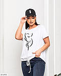 Жіноча футболка з накатом на куліске (Батал), фото 3