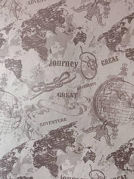 Крафт бумага размер 1 метр на 70 см упаковочная  рисунок газета 1 шт