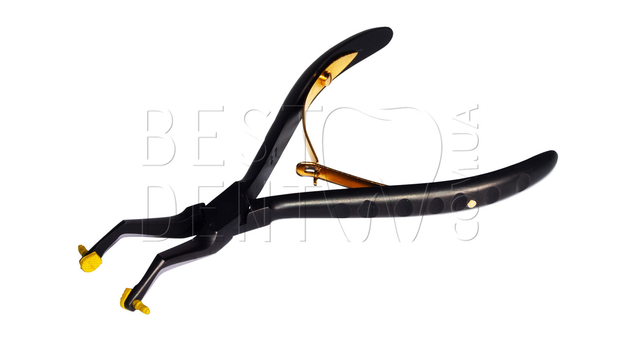 Щипцы для снятия коронок с силиконовыми захватами, угловые (черные)