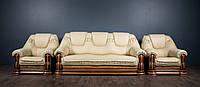 """Класичний шкіряний диван """"Грізлі"""" і шкіряні м'які крісла для вітальні"""