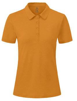 Футболка поло однотонна жіноча, колір помаранчевий