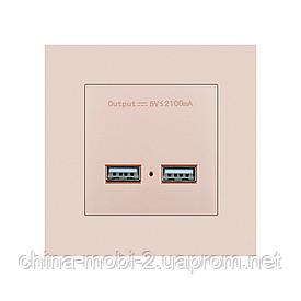 USB розетка SRAN 2xUSB 5V 2.1 A gold