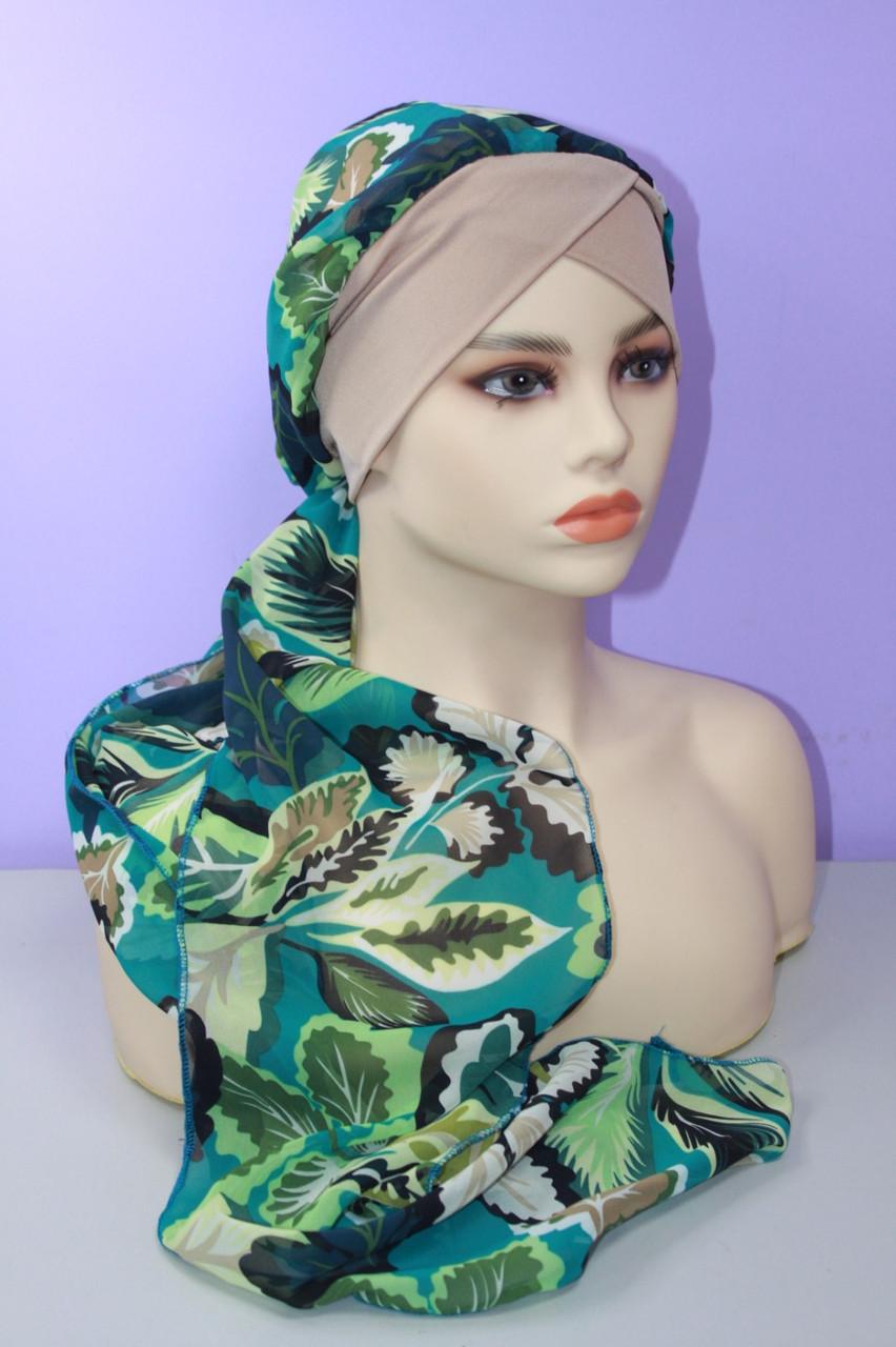 Чалма шапка штапель на повязке трикотажной бежевая с бирюзовым и коричневым узором летняя