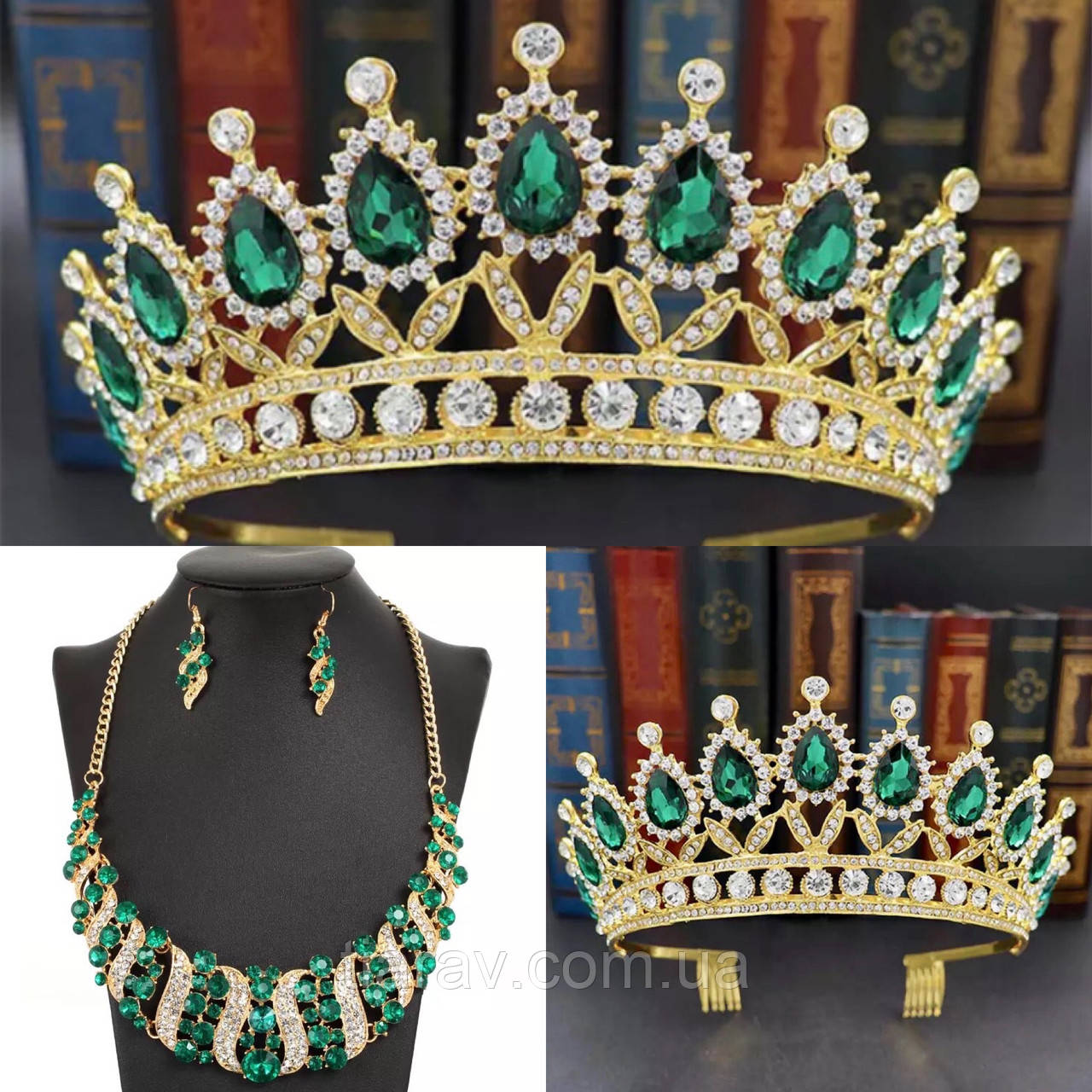Диадема колье и серьги, набор украшений, корона, тиара