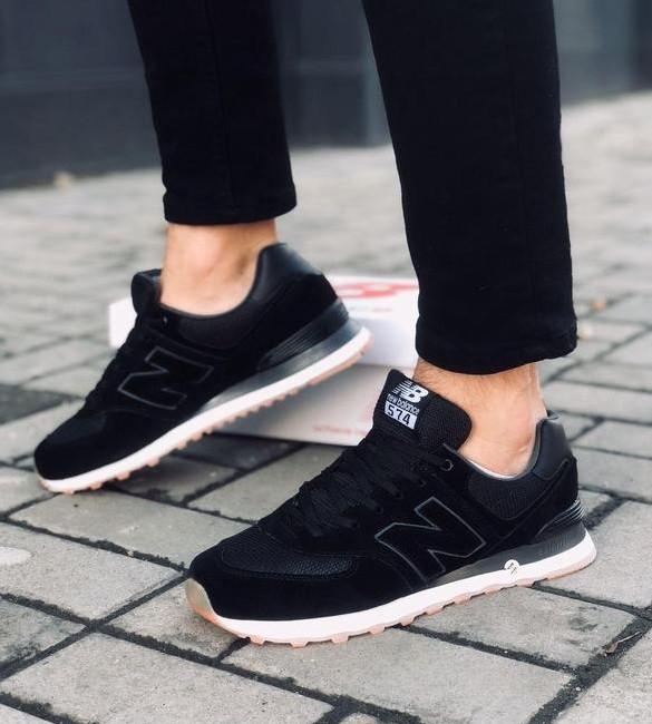 Чоловічі чорні кросівки натуральний замш в стилі New Balance