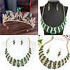 Тіара і сережки з зеленими каменями, корона діадема, кольє і сережки, фото 2