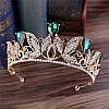 Тіара і сережки з зеленими каменями, корона діадема, кольє і сережки, фото 3