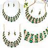 Тіара і сережки з зеленими каменями, корона діадема, кольє і сережки, фото 4