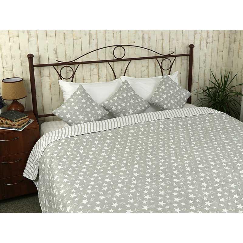 Покрывало на кровать, диван Руно Звезды и полоска 212х240 двустороннее евро