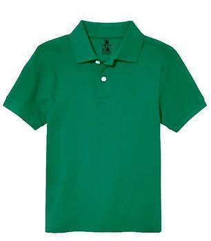 Футболка поло однотонная детская, цвет зеленый
