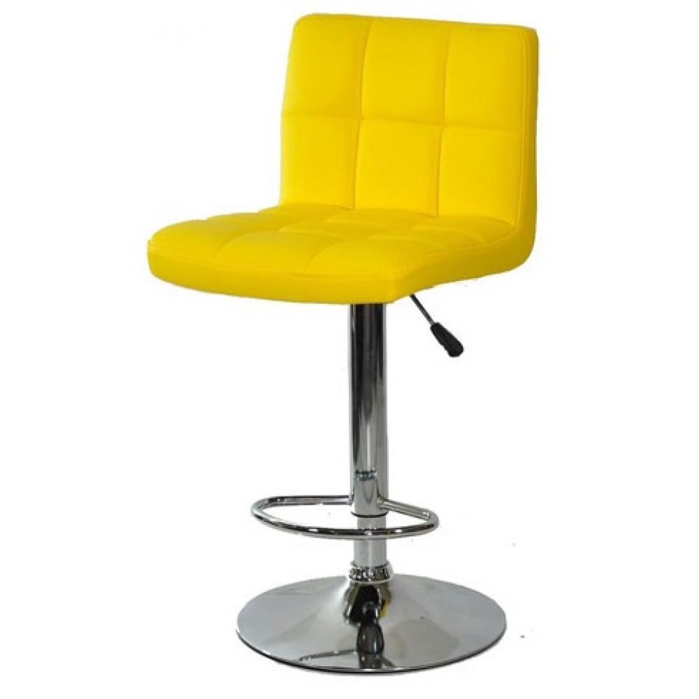 Барний стілець хокер з хромованою ніжкою з гумовим покриттям навантаження до 120 кг м'який жовтий