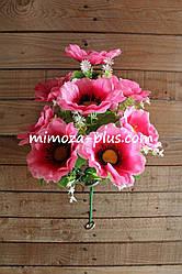 Искусственные цветы - Мак букет, 40 см