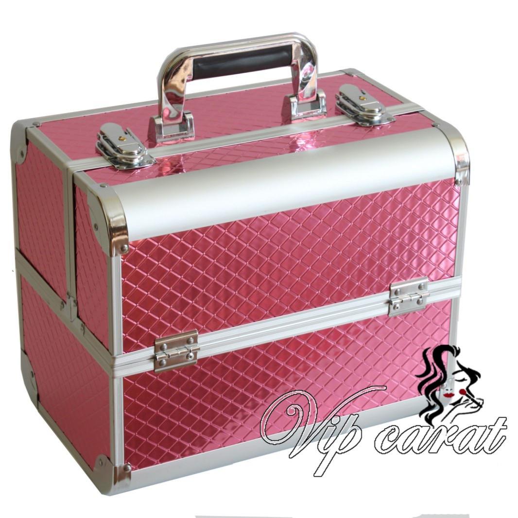 Б'юті кейс для косметики візажиста / валіза для манікюру алюмінієвий рожевий