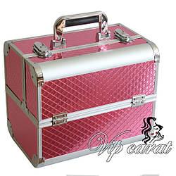 Бьюти кейс для косметики визажиста / чемодан для маникюра алюминиевый розовый