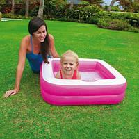 Надувной бассейн для малышей «Песочница». Детский бассейн Intex 57100 - розовый и салатневый цвет.