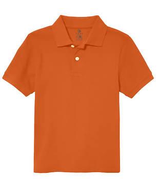 Футболка поло однотонная детская, цвет темно оранжевый