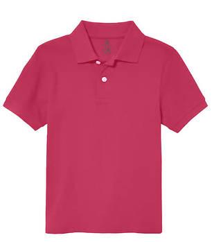 Футболка поло однотонная детская, цвет темно розовый
