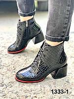 Ботильоны женские кожаные черные на каблуке шнуровке, фото 1