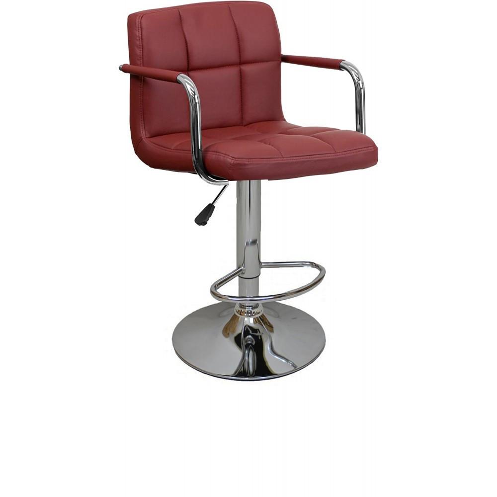Барный стул хокер с ножкой с резиновым покрытием нагрузкой до 120 кг мягкий с подлокотниками бордовый