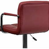 Барный стул хокер с ножкой с резиновым покрытием нагрузкой до 120 кг мягкий с подлокотниками бордовый, фото 4