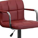 Барный стул хокер с ножкой с резиновым покрытием нагрузкой до 120 кг мягкий с подлокотниками бордовый, фото 2