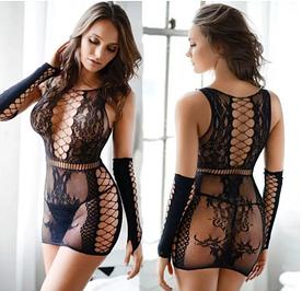 """Сексуальное платье сетка с манжетами """"My Valentine"""" Черный"""