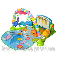 Дитячий ігровий килимок для немовляти з дугою і брязкальцями PA518 (Блакитний)
