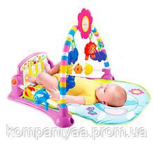 Дитячий музичний ігровий килимок для немовляти з дугою і брязкальцями PA518 (Червоний)