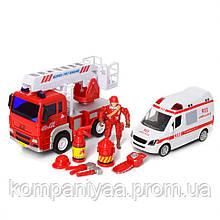 """Дитячий набір іграшкових машинок """"Швидка з пожежної"""" на батарейках 9930"""